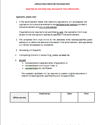 Standard Job Application Form Resume Template Sample